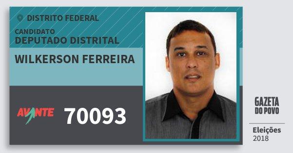 Santinho Wilkerson Ferreira 70093 (AVANTE) Deputado Distrital | Distrito Federal | Eleições 2018