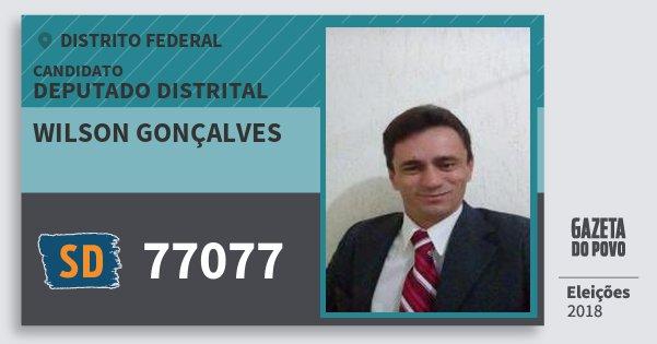 Santinho Wilson Gonçalves 77077 (SOLIDARIEDADE) Deputado Distrital | Distrito Federal | Eleições 2018