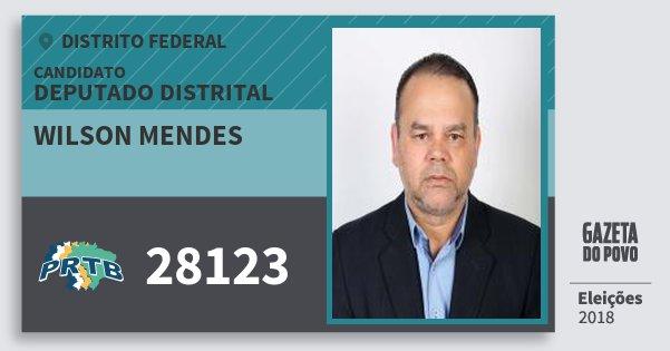 Santinho Wilson Mendes 28123 (PRTB) Deputado Distrital | Distrito Federal | Eleições 2018