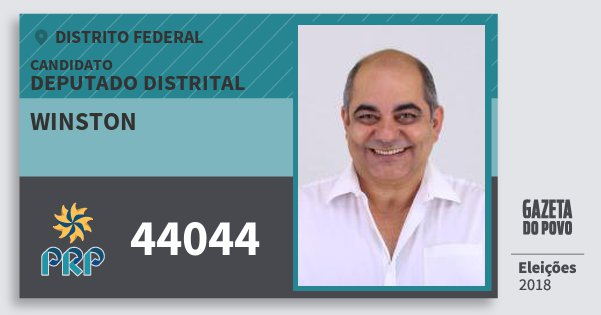 Santinho Winston 44044 (PRP) Deputado Distrital | Distrito Federal | Eleições 2018