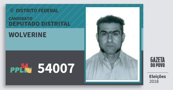 Santinho Wolverine 54007 (PPL) Deputado Distrital | Distrito Federal | Eleições 2018