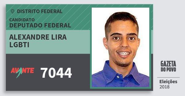 Santinho Alexandre Lira Lgbti 7044 (AVANTE) Deputado Federal | Distrito Federal | Eleições 2018