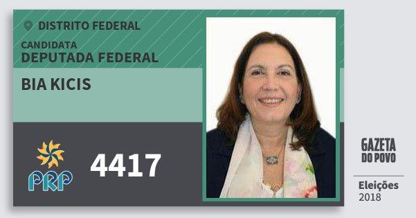 Santinho Bia Kicis 4417 (PRP) Deputada Federal   Distrito Federal   Eleições 2018