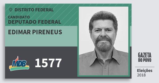 Santinho Edimar Pireneus 1577 (MDB) Deputado Federal | Distrito Federal | Eleições 2018