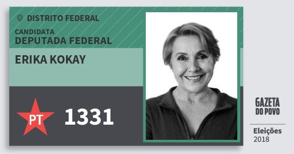Santinho Erika Kokay 1331 (PT) Deputada Federal | Distrito Federal | Eleições 2018