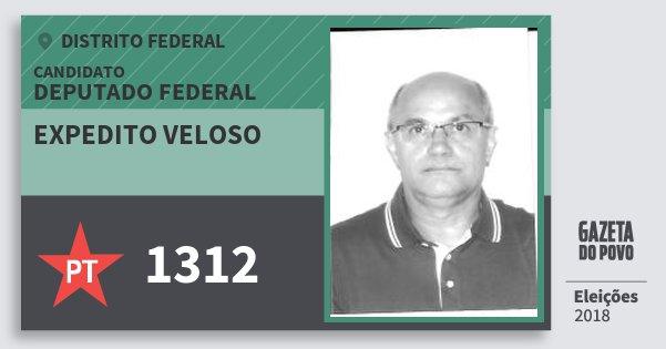 Santinho Expedito Veloso 1312 (PT) Deputado Federal | Distrito Federal | Eleições 2018