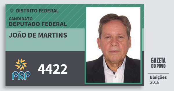 Santinho João de Martins 4422 (PRP) Deputado Federal | Distrito Federal | Eleições 2018