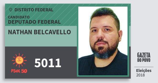 Santinho Nathan Belcavello 5011 (PSOL) Deputado Federal | Distrito Federal | Eleições 2018