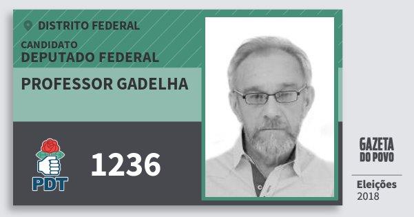 Santinho Professor Gadelha 1236 (PDT) Deputado Federal | Distrito Federal | Eleições 2018