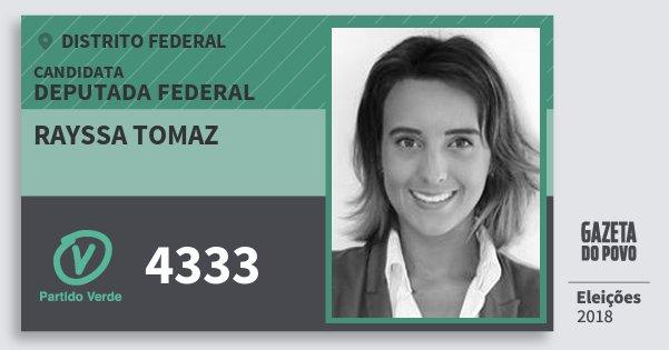 Santinho Rayssa Tomaz 4333 (PV) Deputada Federal | Distrito Federal | Eleições 2018