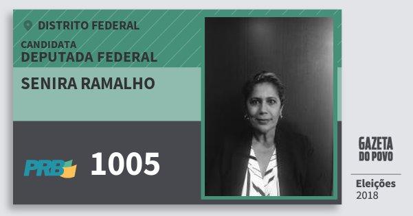 Santinho Senira Ramalho 1005 (PRB) Deputada Federal | Distrito Federal | Eleições 2018