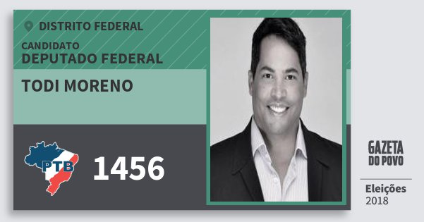 Santinho Todi Moreno 1456 (PTB) Deputado Federal | Distrito Federal | Eleições 2018