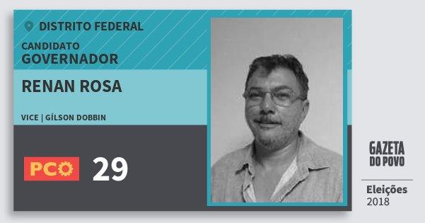 Santinho Renan Rosa 29 (PCO) Governador | Distrito Federal | Eleições 2018