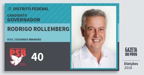 Santinho Rodrigo Rollemberg 40 (PSB) Governador | Distrito Federal | Eleições 2018