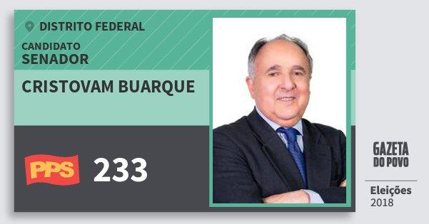 Santinho Cristovam Buarque 233 (PPS) Senador | Distrito Federal | Eleições 2018