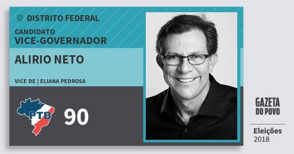 Santinho Alirio Neto 90 (PTB) Vice-governador | Distrito Federal | Eleições 2018