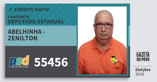 Santinho Abelhinha - Zenilton 55456 (PSD) Deputado Estadual | Espírito Santo | Eleições 2018