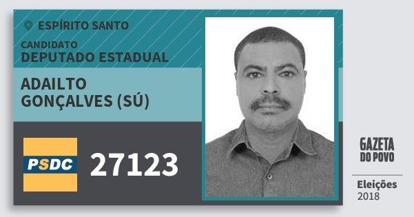 Santinho Adailto Gonçalves (Sú) 27123 (DC) Deputado Estadual | Espírito Santo | Eleições 2018