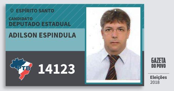 Santinho Adilson Espindula 14123 (PTB) Deputado Estadual | Espírito Santo | Eleições 2018