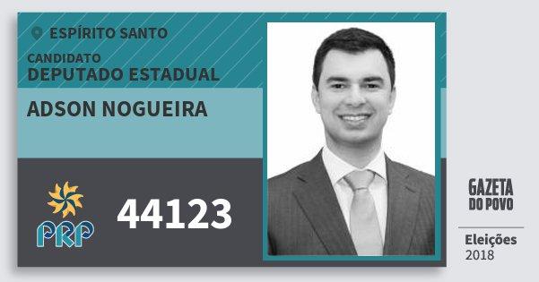 Santinho Adson Nogueira 44123 (PRP) Deputado Estadual | Espírito Santo | Eleições 2018