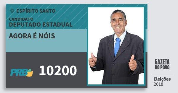 Santinho Agora É Nóis 10200 (PRB) Deputado Estadual | Espírito Santo | Eleições 2018