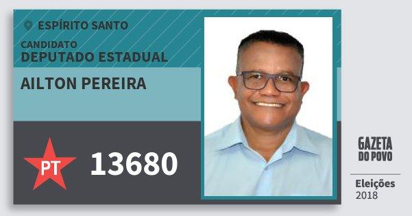 Santinho Ailton Pereira 13680 (PT) Deputado Estadual | Espírito Santo | Eleições 2018
