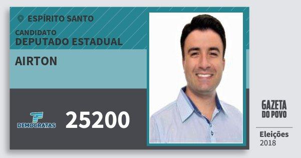 Santinho Airton 25200 (DEM) Deputado Estadual | Espírito Santo | Eleições 2018