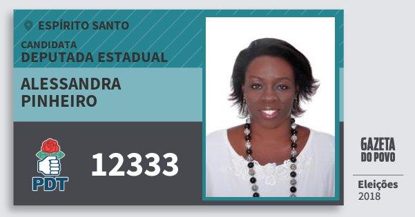 Santinho Alessandra Pinheiro 12333 (PDT) Deputada Estadual | Espírito Santo | Eleições 2018