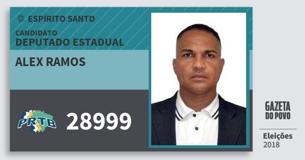 Santinho Alex Ramos 28999 (PRTB) Deputado Estadual | Espírito Santo | Eleições 2018