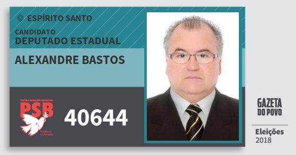 Santinho Alexandre Bastos 40644 (PSB) Deputado Estadual | Espírito Santo | Eleições 2018