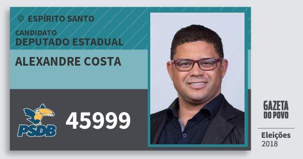 Santinho Alexandre Costa 45999 (PSDB) Deputado Estadual | Espírito Santo | Eleições 2018