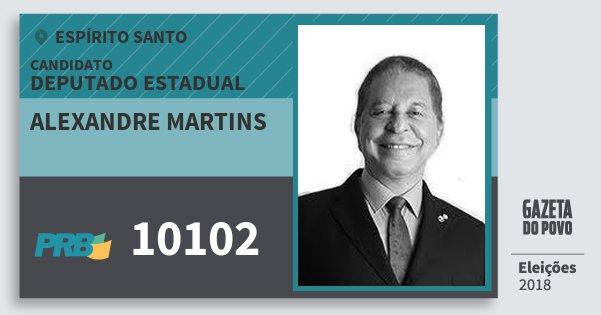 Santinho Alexandre Martins 10102 (PRB) Deputado Estadual | Espírito Santo | Eleições 2018