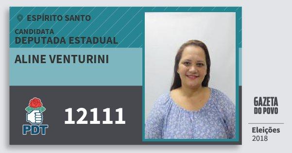 Santinho Aline Venturini 12111 (PDT) Deputada Estadual | Espírito Santo | Eleições 2018