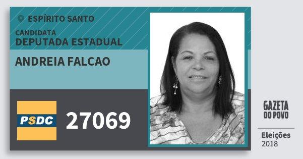 Santinho Andreia Falcao 27069 (DC) Deputada Estadual | Espírito Santo | Eleições 2018