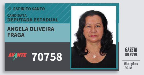 Santinho Angela Oliveira Fraga 70758 (AVANTE) Deputada Estadual | Espírito Santo | Eleições 2018