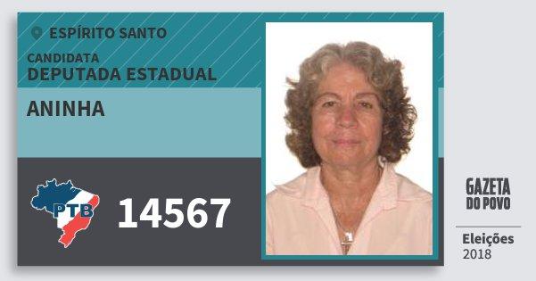 Santinho Aninha 14567 (PTB) Deputada Estadual | Espírito Santo | Eleições 2018