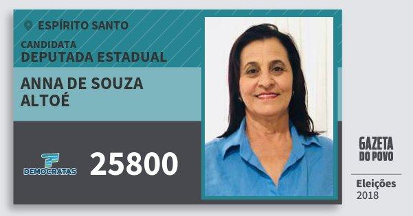 Santinho Anna de Souza Altoé 25800 (DEM) Deputada Estadual | Espírito Santo | Eleições 2018