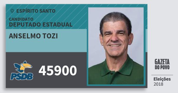 Santinho Anselmo Tozi 45900 (PSDB) Deputado Estadual | Espírito Santo | Eleições 2018