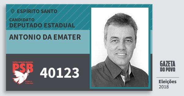 Santinho Antonio da Emater 40123 (PSB) Deputado Estadual | Espírito Santo | Eleições 2018