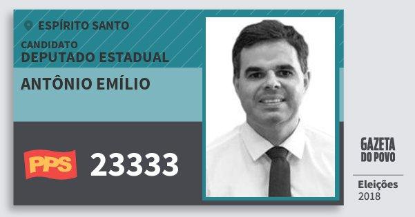 Santinho Antônio Emílio 23333 (PPS) Deputado Estadual | Espírito Santo | Eleições 2018