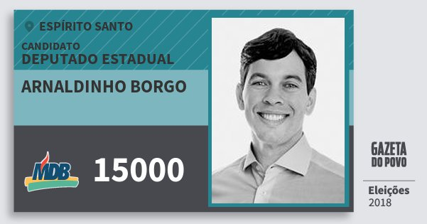 Santinho Arnaldinho Borgo 15000 (MDB) Deputado Estadual | Espírito Santo | Eleições 2018