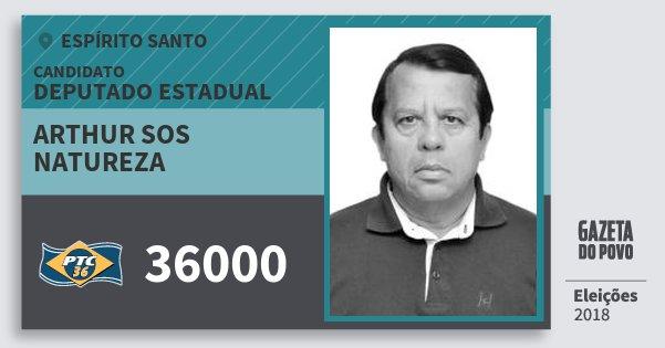 Santinho Arthur Sos Natureza 36000 (PTC) Deputado Estadual | Espírito Santo | Eleições 2018