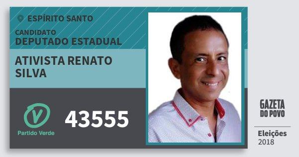 Santinho Ativista Renato Silva 43555 (PV) Deputado Estadual | Espírito Santo | Eleições 2018