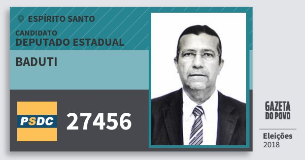 Santinho Baduti 27456 (DC) Deputado Estadual | Espírito Santo | Eleições 2018
