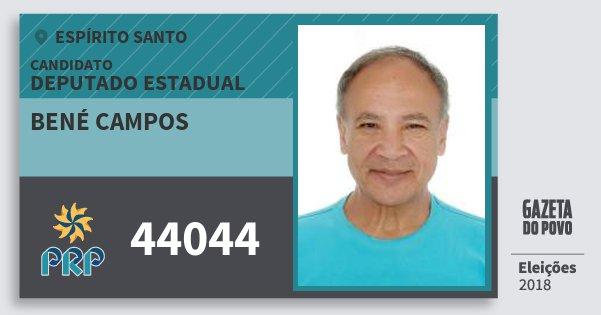 Santinho Bené Campos 44044 (PRP) Deputado Estadual | Espírito Santo | Eleições 2018