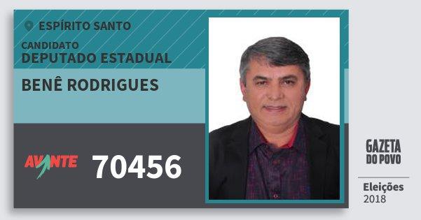 Santinho Benê Rodrigues 70456 (AVANTE) Deputado Estadual | Espírito Santo | Eleições 2018