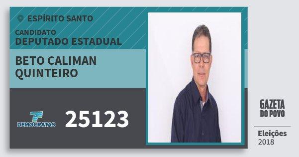 Santinho Beto Caliman Quinteiro 25123 (DEM) Deputado Estadual | Espírito Santo | Eleições 2018