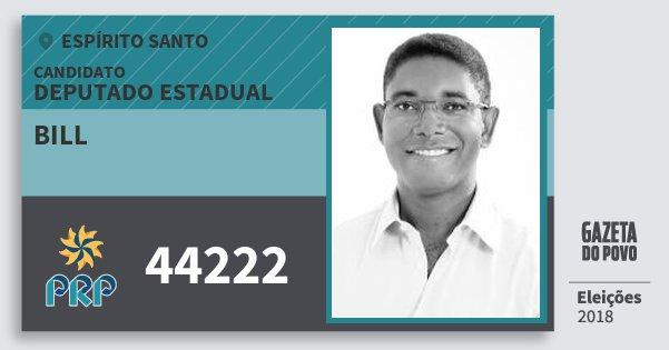 Santinho Bill 44222 (PRP) Deputado Estadual | Espírito Santo | Eleições 2018