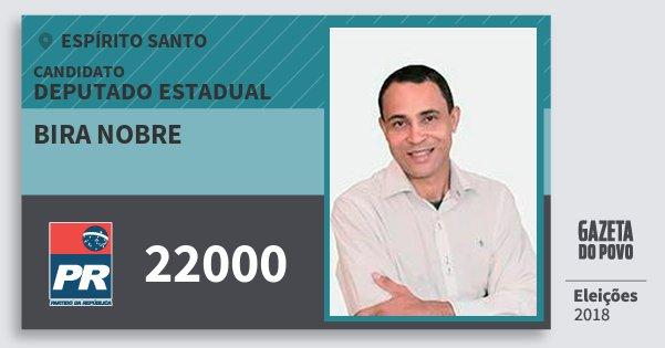Santinho Bira Nobre 22000 (PR) Deputado Estadual | Espírito Santo | Eleições 2018