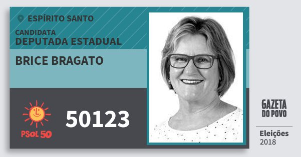 Santinho Brice Bragato 50123 (PSOL) Deputada Estadual | Espírito Santo | Eleições 2018